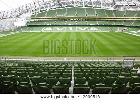 DUBLIN - JUNE 10: Rows of green seats in an empty stadium Aviva June 10, 2010 in Dublin. Stadium Aviva after repair