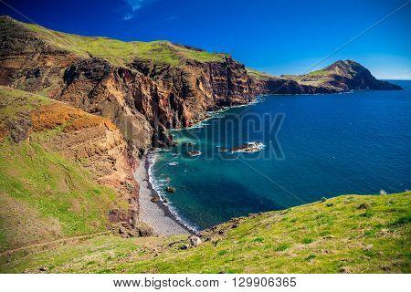 view of the small wild beach located at Ponta de Sao Lourenco Madeira Portugal