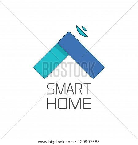 Smart home logo symbol isolated on white background, abstract linear smart house shape with signal waves on roof logotype, technology sign vector illustration
