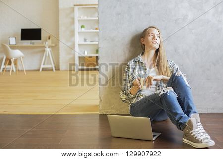 Girl With Coffee In Interior