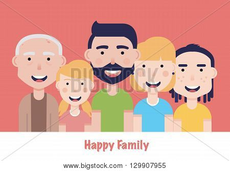 Happy family illustration. Father, mother, granddad, son and daughter portrait with banner.Family portrait.