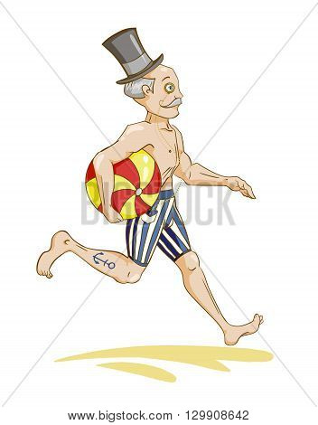 running gentleman with beach ball, color vector illustration