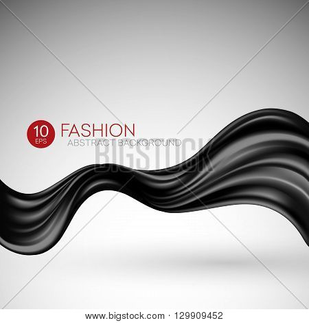 Black flying silk fabric. Fashion background. Vector illustration EPS10