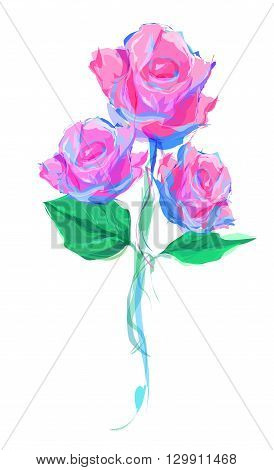 Cute  rose. Set of flowers isolated on white background. Retro design graphic element. This is illustration ideal for a mascot and tattoo or T-shirt graphic. Stock illustration