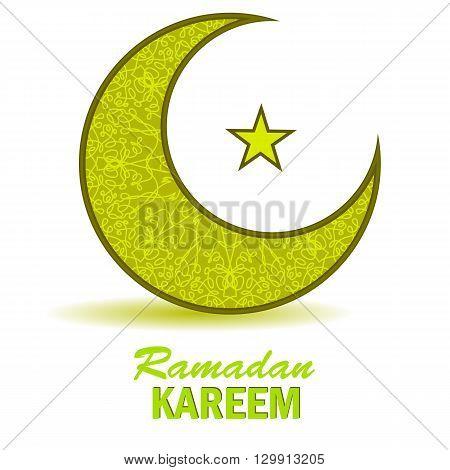 Ramadan Greetings Background. Ramadan Kareem Means Ramadan the Generous Month. Ramadan Greeting Card. Yellow Moon and Yellow Star on White Background