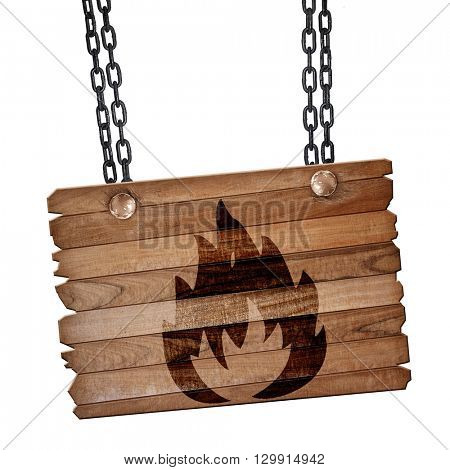 Flammable hazard sign, 3D rendering, wooden board on a grunge ch