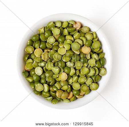 Bowl Of Green Split Peas Isolated On White, From Above