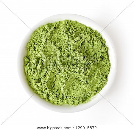 Bowl Of Barley Or Wheat Grass Isolated On White, From Above