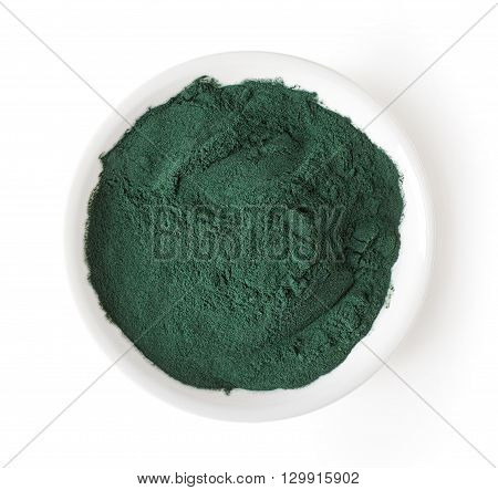 Bowl Of Spirulina Powder Isolated On White, From Above