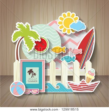 summer scrapbook. Holidays background on wooden texture