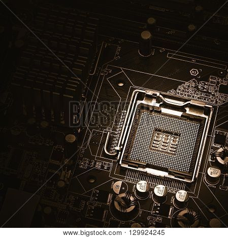 image of the motherboard without a PC processor closeup Blue tone and light effect