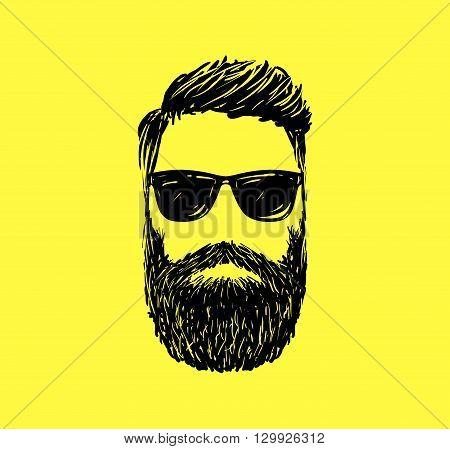 Hipster fashion man hair and beards, Hand drawn vector illustration.