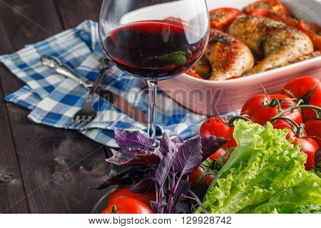 Baked chicken with teriyaki sauce and wine