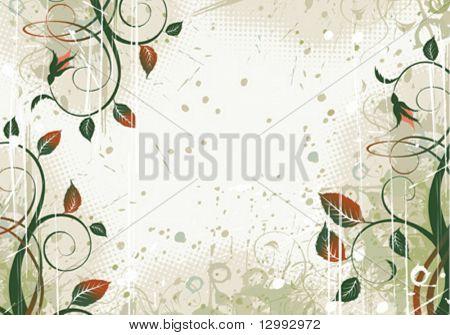 Vector grunge floral border