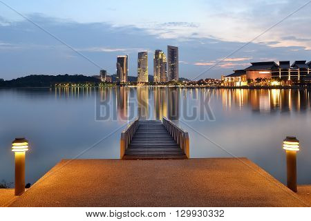 The Putrajaya Lake (Malay: Tasik Putrajaya) is a lake located at the centre of Putrajaya, Malaysia. This 650 hectares man-made lake is designed to act as a natural cooling system for the city and also for recreation, fishing, water sports and water transp