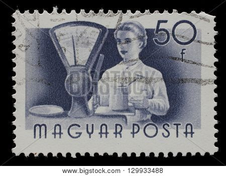 ZAGREB, CROATIA - JUNE 25: A stamp printed in Hungary, shows seller, series occupations, circa 1955, on June 25, 2014, Zagreb, Croatia