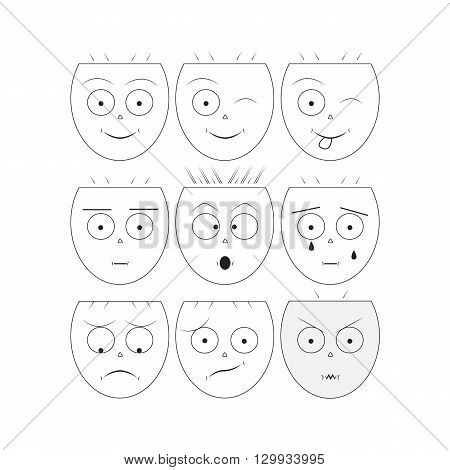 Smile icons/Vector smile/ Emoticons/Set of Emoji/Set of emotion/ Icons of smiley faces