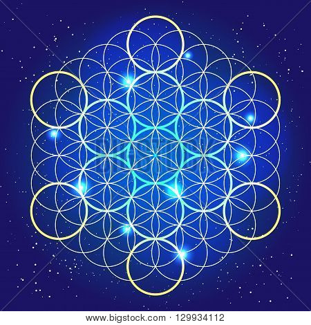 Sacral geometry. Cosmic mystery rounds in the sky.