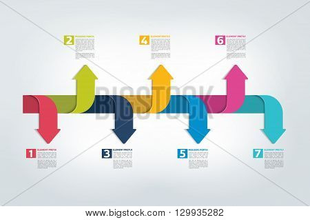 Timeline report, template, chart, scheme, step by step infographic. Vector.