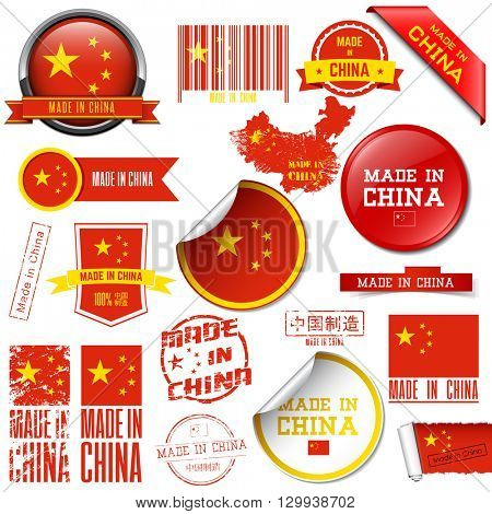 Made in China. Set of vector graphic icons and labels.