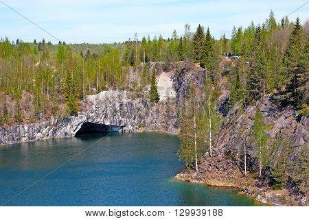 RUSKEALA, KARELIA, RUSSIA - MAY 14, 2016: Mountain Park