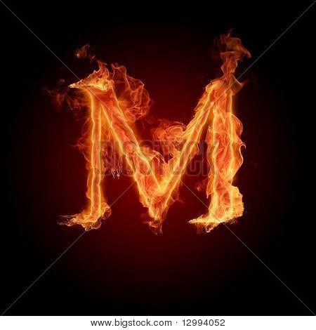 Fiery font. Letter M