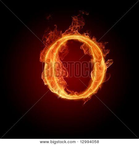 Fiery font. Letter O