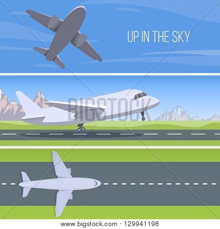 Set of planes. Up in the sky. Runway with jet aircraft top view. Takeoff and landing airplanes set. Vector.