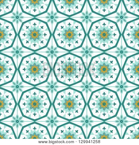 Symmetry ornamental islamic tile vector seamless pattern