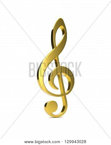 3D golden violin clef on a white background