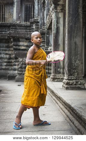 Siem Reap, Cambodia - MAY 04, 2016:  Unidentified Buddhist monk at Wat Chowk in Siem Reap