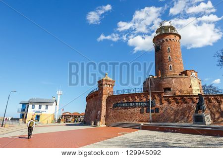 Kolobrzeg, Poland - April 07, 2016: Harbor And The Lighthouse In Kolobrzeg, West Pomerania, Poland