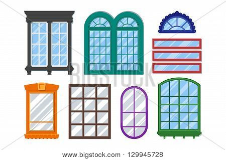 Set of detailed windows for private house or building. Interior / exterior home decoration elements. Isolated modern architecture element. Wooden constructions with glass. Vector colorful illustration
