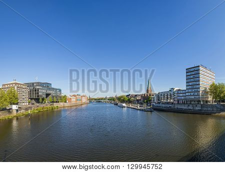 Cityscape With Teerhof On The Left And View To The Bridge At River Weser
