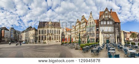 Facade Of  Old Guilde Houses And Historic Half Timbered Houses At The Market Place In Bremen