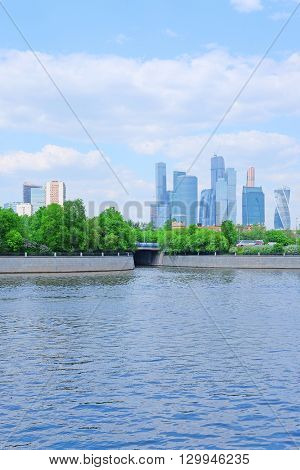 Moscow, Russia - May, 11, 2016: View of Moscow river embankment