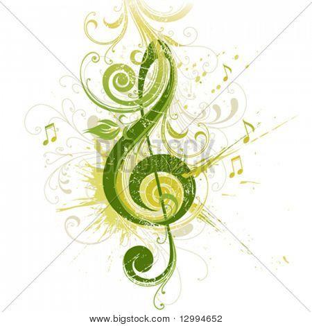 Violin key. Floral design.