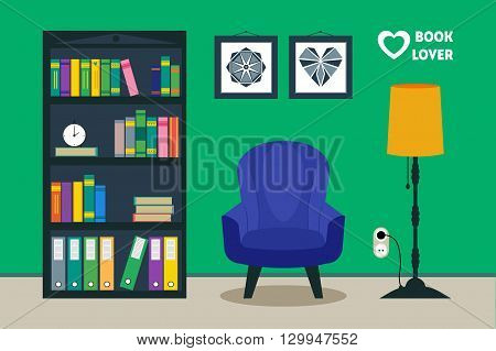 Flat library room interior with armchair floor lamp bookcase bonsai pictures. Home comfortable book lover decor concept. Good for booklover card poster banner flyer brochure. Vector furniture