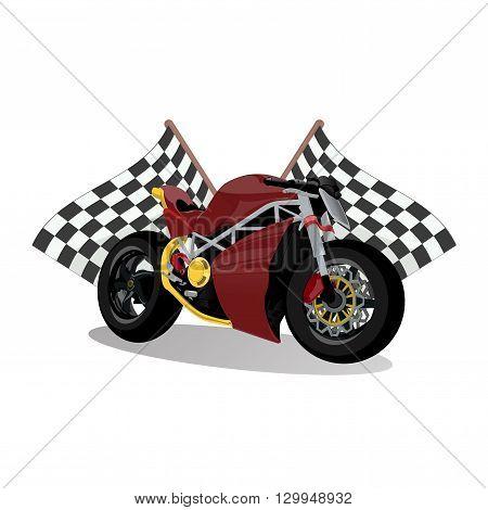 super sport extreme red bike motorcycle illustration