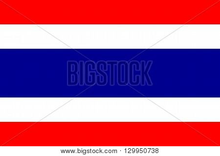 Vector of official flag of Thailand country, Thailand flag illustration