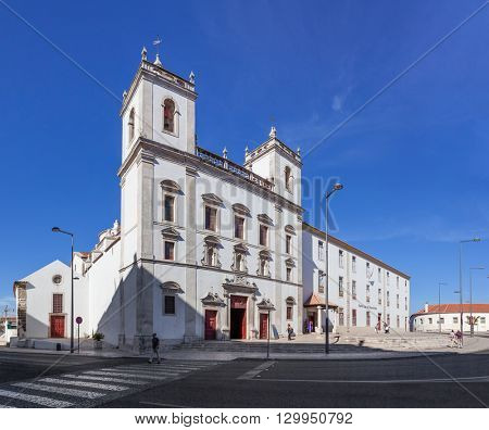 Santarem, Portugal. September 10, 2015: Hospital de Jesus Cristo Church. 17th century Portuguese Mannerist architecture, called Chao.