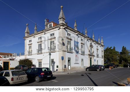 Santarem, Portugal. September 10, 2015: The former Eugenio Silva Palace, a 17th century Manor-House currently used as the city-hall of Santarem.