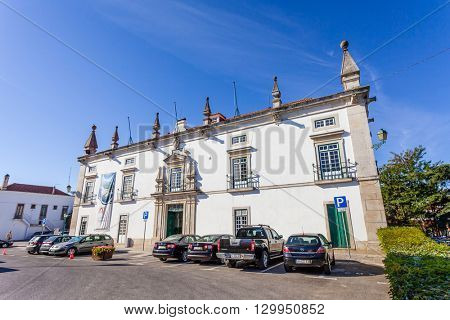 Santarem, Portugal. September 11, 2015: The former Eugenio Silva Palace, a 17th century Manor-House currently used as the city-hall of Santarem.