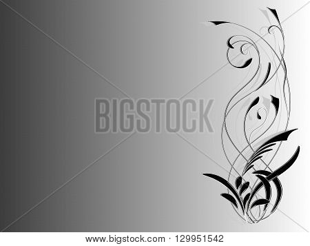 Background with abstract tattoo black and white floral ornaments vector illustration