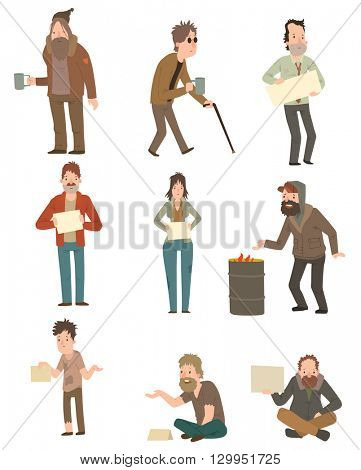 Homeless vector illustration.