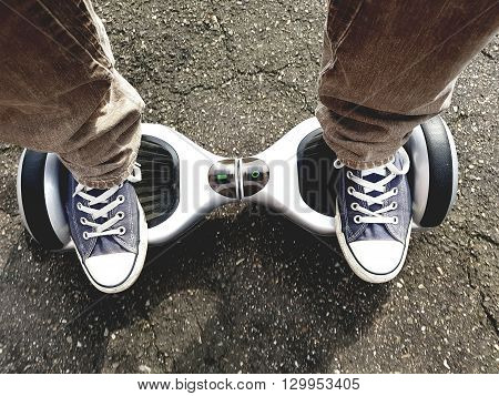 selfie point of view feet on hoverboard