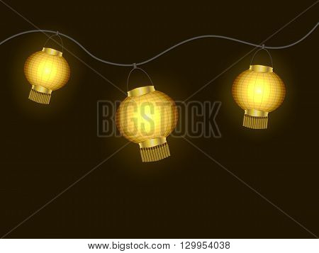 A garland of yellow glowing paper lanterns vector illustration