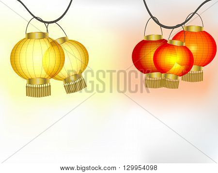 Garlands of yellow and red paper lanterns vector illustration