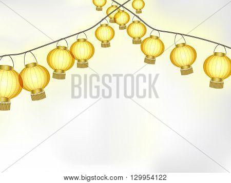 Garlands of yellow paper lanterns vector illustration