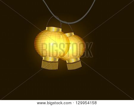 Glowing yellow paper lanterns on black vector illustration